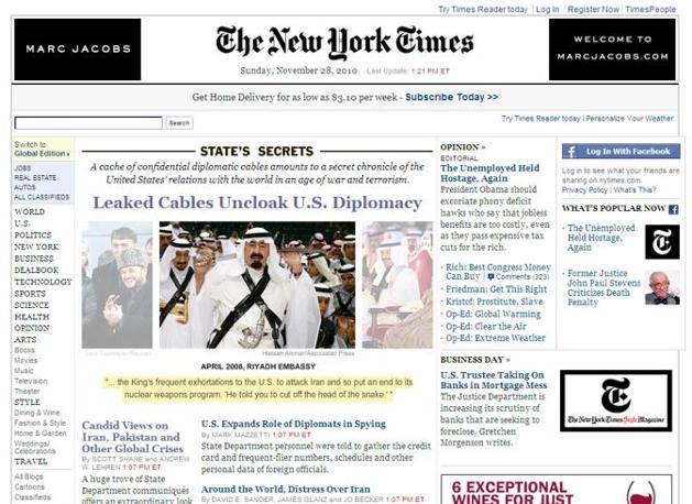 La homepage del sito del New York Times, la foto è sui reali sauditi