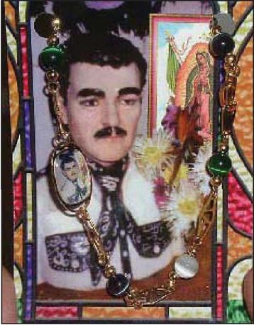 Jesus Malverde, patrono dei banditi, in un'immagine votiva