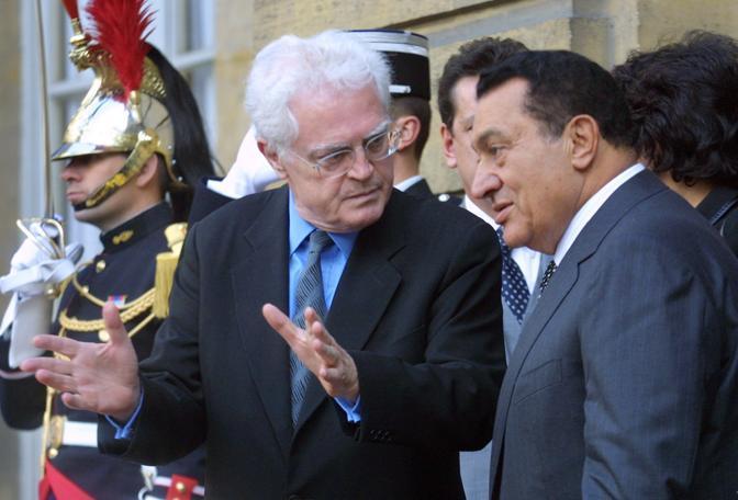 Hosny Mubarak con Lionel Jospin (Ansa)