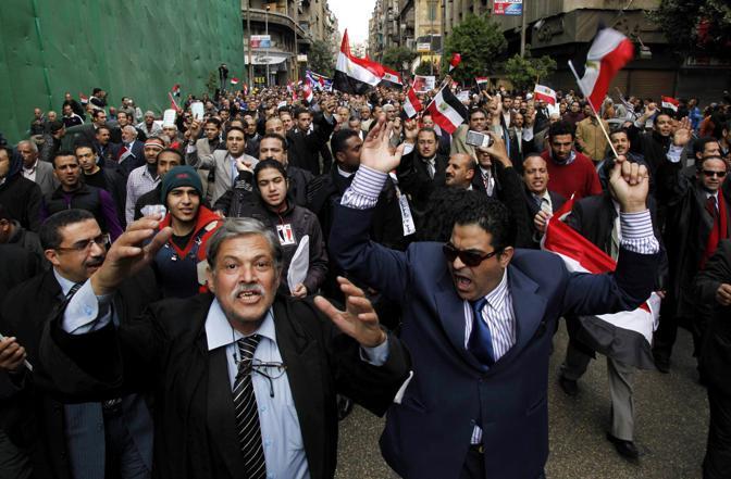 Proteste per le mancate dimissioni di Mubarak, Il Cairo 10 febbraio (Olycom)