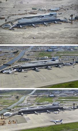 L'aeroporto di Sendai: 11 marzo, 3 giugno, 6 settembre (Ap/Kyodo)