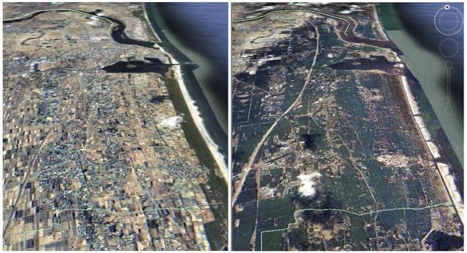 Il Sendai prima e dopo il terremoto (Reuters/Formosat image)