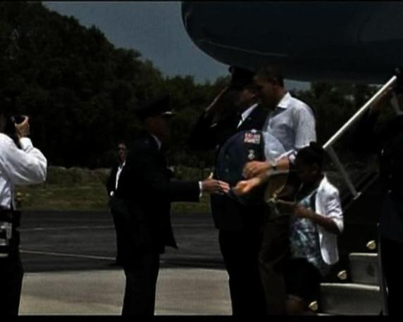 Il presidente era appena arrivato dall'Alabama dove ha visitato le zone devastate dai tornado