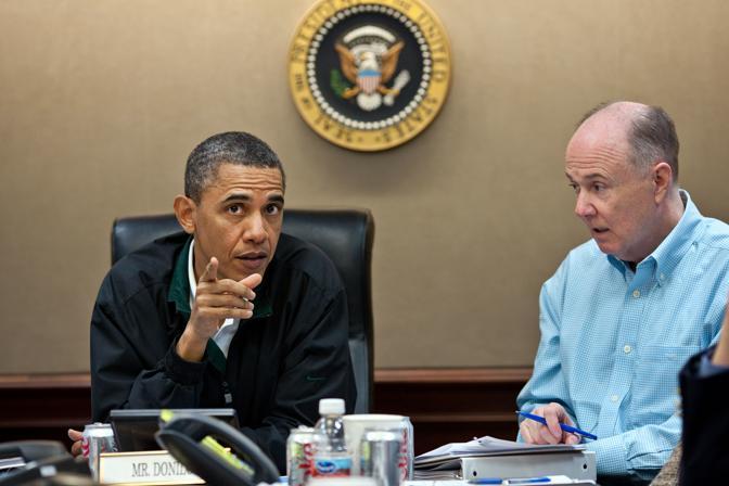 Obama e il Consigliere per la sicurezza nazionale Tom Donilon (Ap/Souza)