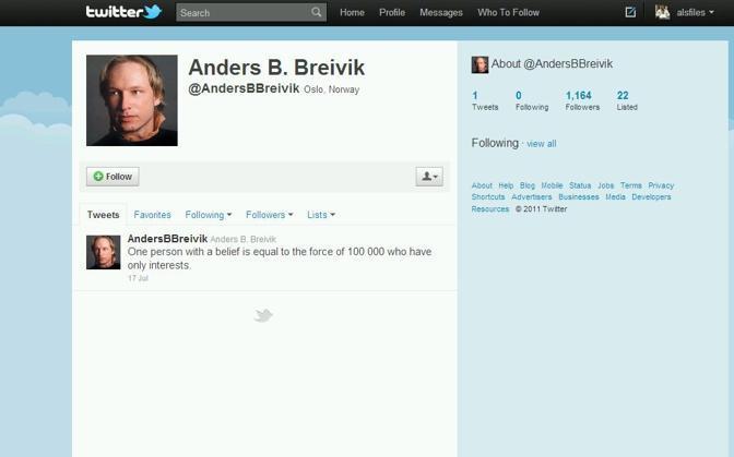 Il profilo Twitter di Breivik. Contiene uno solo post, pubblicato il 17 luglio. Recita: «Una persona con una fede ha la stessa forza di 100 mila che hanno solo interessi»
