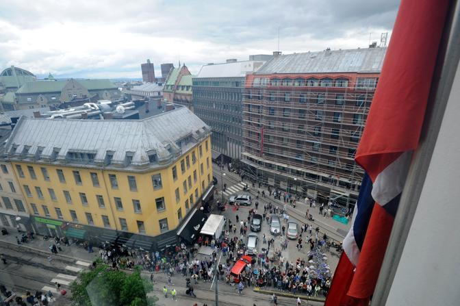 La piazza davanti al tribunale (Epa)