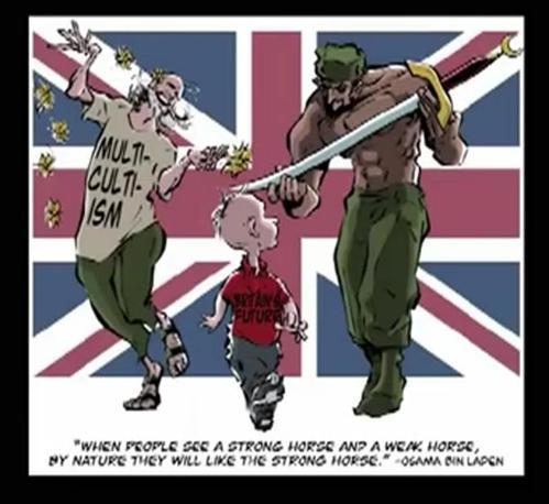 Il bimbo occidentale, il futuro, oppresso dal multiculturalismo e dall'Islam