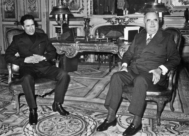 Parigi, 24 novembre 1973:  con il presidente francese Georges Pompidou (Afp)
