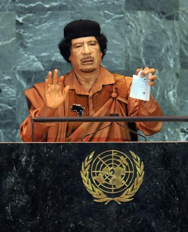 Durante l'intervento all'Onu il 23 settembre 2009 (Ansa)