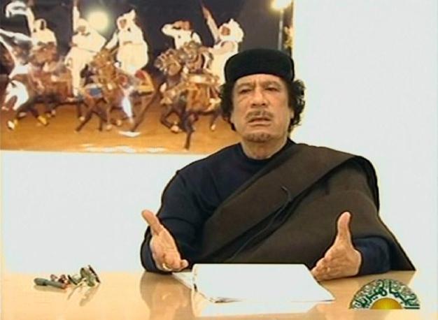 Uno degli ultimi messaggi televisivi trasmesso il 30 aprile 2011  dalla tv libica (Afp)