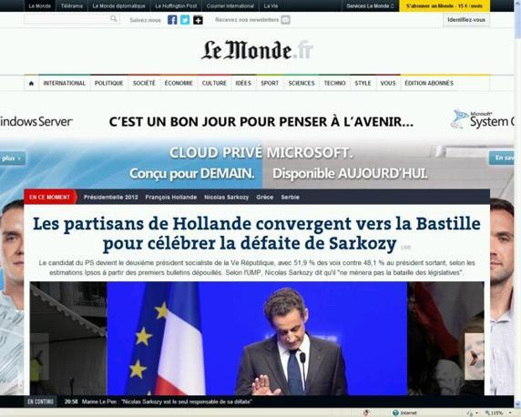 La notizia della sconfitta di Sarkozy sui siti dei principali quotidiani francesi: Le Monde