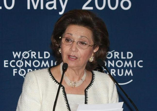 Suzanne Mubarak durante un intervento al World Economic Forum (Epa/Nelson)