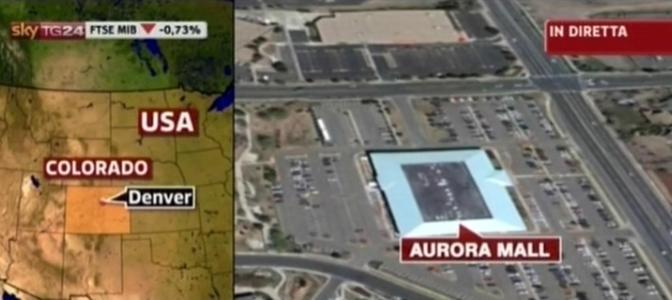 Una sparatoria è avvenuta a Denver (Colorado) durante la prima del film Batman. La mappa  in un fermoimmagine del servizio di Sky Tg24   (Ansa/Sky TG24)