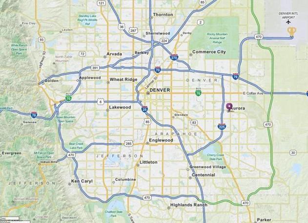 La mappa di Denver. Contrassegnato con il pallino viola sulla destra il sobborgo di Aurora dove  è avvenuta la sparatoria (Ansa)