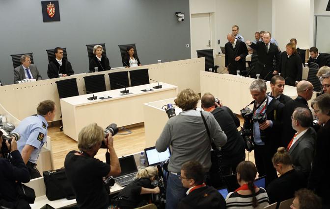 L'aula della Tribunale Distrettuale di Oslo (LaPresse)