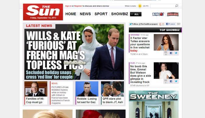 Lo «shock» delle foto di Kate sul Sun