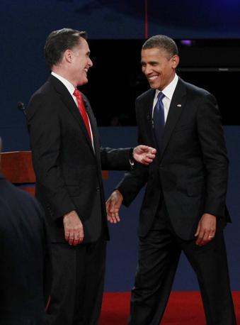 A Denver il primo dibattito tra il presidente Barack Obama e il candidato repubblicano Mitt Romney: 60 milioni di americani alla tv (Reuters)