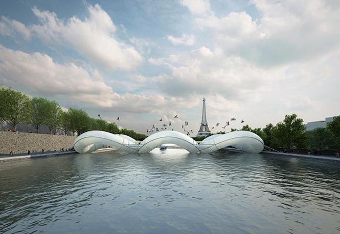 Il ponte-trampolino gonfiabile è un'idea dello studio di architettura di Parigi (Foto: AZC)