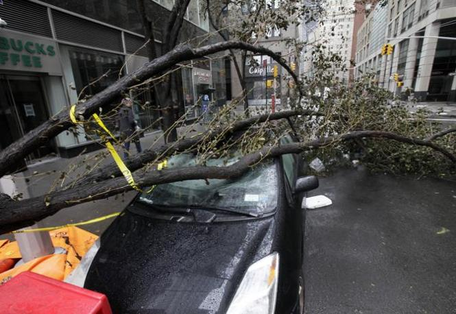 Un albero caduto su una vettira in una strada del Financial District di Manhattan (Richard Drew/Ap)