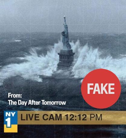 Immagine tv alterata, la sequenza è del film The Day After Tomorrow