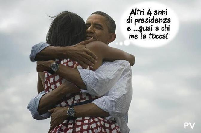 Su Facebook e Twitter fotomontaggi e tormentoni ironici sull'elezione di Obama e sulla foto dell'abbraccio con la first lady