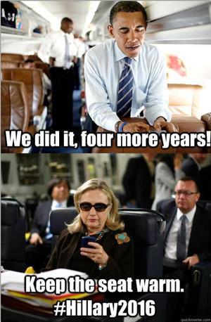 Obama manda un messaggio a Hillary Clinton: �Altri quattro anni, ce l'abbiamo fatta�. E il segretario di Stato risponde: �Tienimi la poltrona calda�