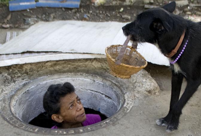 In Colombia, a Medellín, una coppia di coniugi vive da più di vent'anni in una fogna. Nella foto, Maria Garcia guarda il suo cane affacciandosi dal tombino (Afp/Raul Arboleda)
