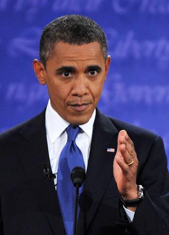 Barack Obama in una fase del dibattito (Afp)