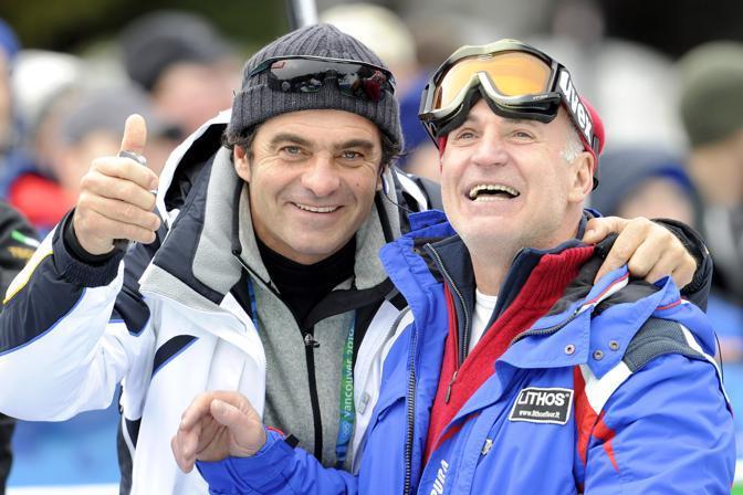 Alberto Tomba con Antonio Razzoli (Ap)
