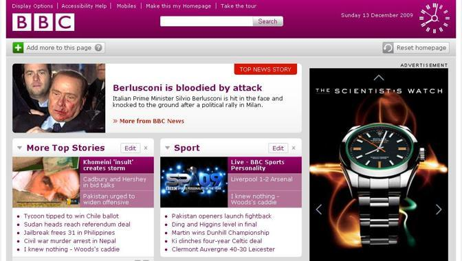La home page di BBC