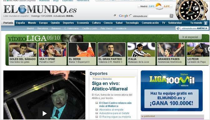 La home page di El Mundo