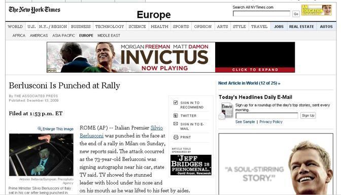 La home page di New York Times