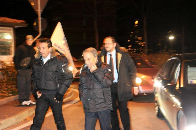 Emilio Fede arriva al San Raffaele (Fotogramma)