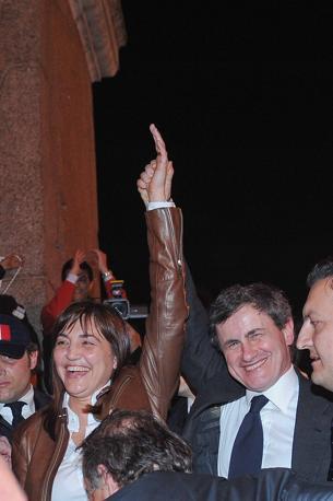 La Poverini con il sindaco Alemanno (Imagoeconomica)