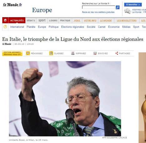 """Il voto in Italia sui siti dei giornali stranieri. Nella foto in alto """"Le Monde"""""""