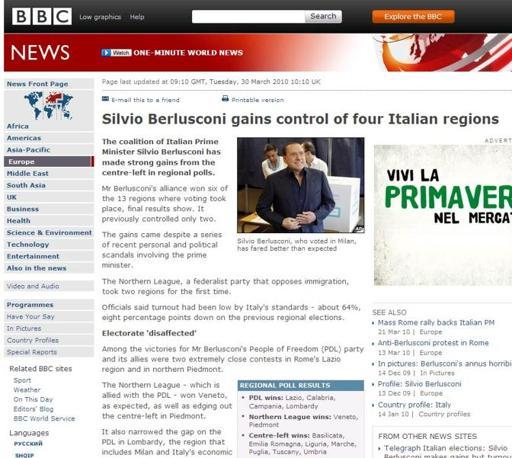 La pagina online della BBC dedicata al voto in Italia