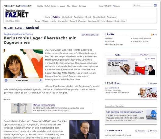 il sito della Frankfurter Allgemeine Zeitung