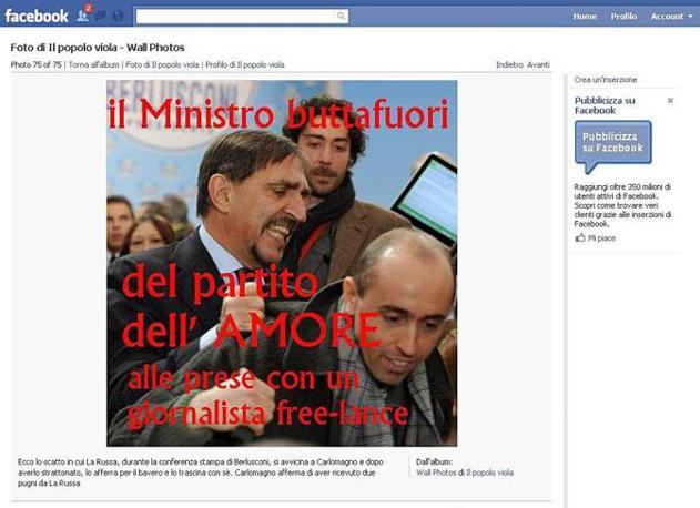 """Carlomagno diventa immediatamente protagonista su Facebook: ecco una delle immagini del confronto con La Russa sulla bacheca del """"Popolo viola"""""""