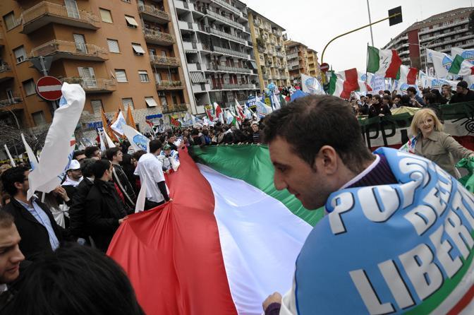 La manifestazione del centrodestra a Roma (Ansa)