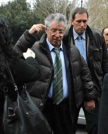 Umberto Bossi al corteo della Capitale (Ansa)