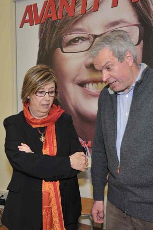 Mercedes Bresso con Gianfranco Morgando, segretario regionale del Pd. (Photonews / Infophoto)