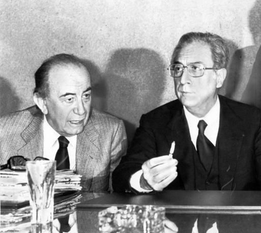 Roma, 6 maggio 1980, Francesco Cossiga, primo ministro, con Carlo Donat Cattin (Ap)
