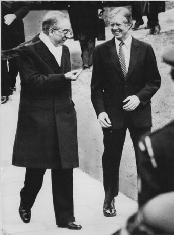 Washington, 25 gennaio 1980 - Francesco Cossiga alla Casa Bianca ricevuto dal presidente Jimmy Carter