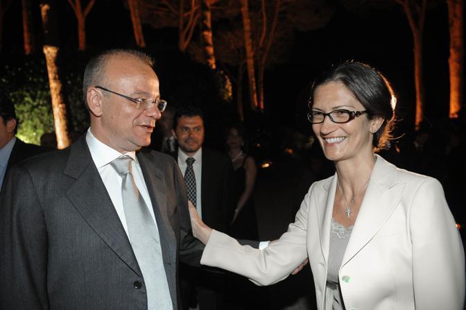 Gianfranco Rotondi e Mariastella Gelmini, ospite alla festa (Imagoeconomica)
