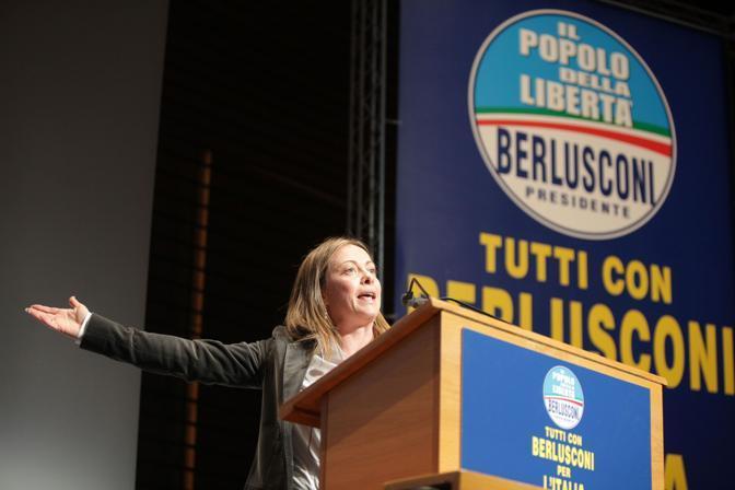 Giorgia Meloni, Ministro della Gioventù, a Roma il 12 dicembre 2010, durante il Convegno del PDL a sostegno del governo Berlusconi (2010)