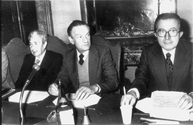 Aldo Moro, Benigno Zaccagnini e Giulio Andreotti nel 1978: è stato l'ultimo incontro prima del sequestro di Moro da parte delle Br (Ansa)