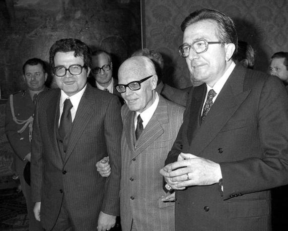 Con Romano Prodi e Sandro Pertini nel 1978 (Ap)