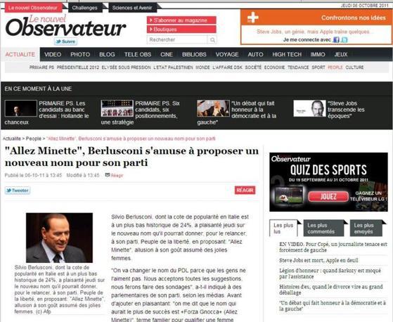 «Allez Minette»: è la traduzione francese proposta sul Nouvel Observateur