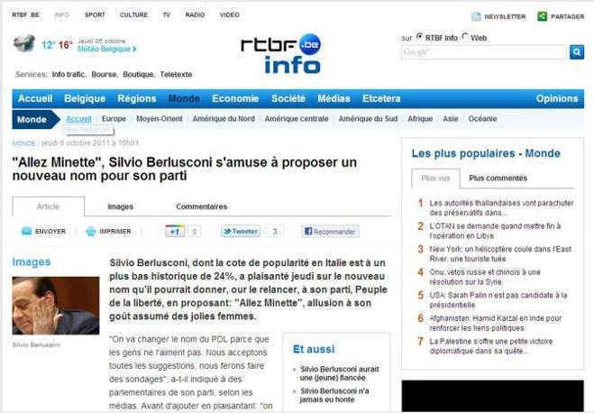Il portale belga rtbf.info