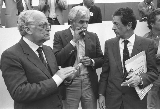Paolo Bufalini, Lucio Magri, Enrico Berlinguer segretario del PCI (Agf)
